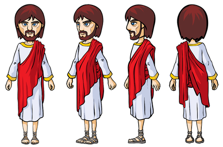 biblical: Biblical Character. Four turn-around positions. Illustration