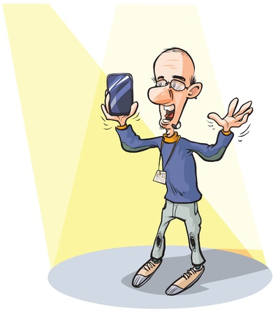 invent clever: Man presenting a new high-tech product. The screen is on a separate layer for easy editing. Illustration