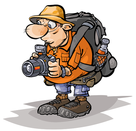 Cartoon Tourist Charakter. Vektorgrafik