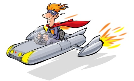 flying man: Cartoon hero drives his flying car. Illustration