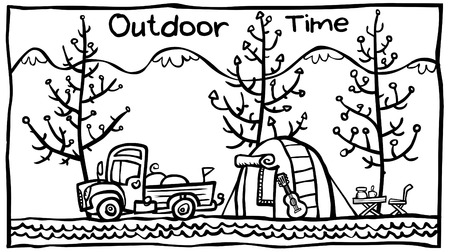 Outdoor illustration. Outline version.