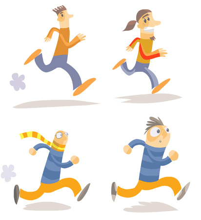 Different running characters.