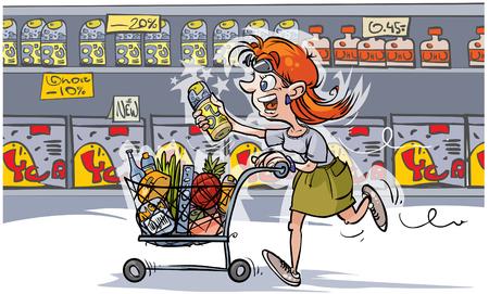 Mujer de dibujos animados en compras. Todo el producto en capas separadas para una fácil edición.