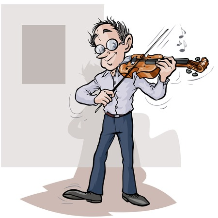 Cartoon violinist.