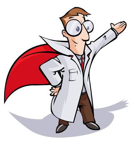 Super Doctor or Scientist cartoon character. Stock Illustratie