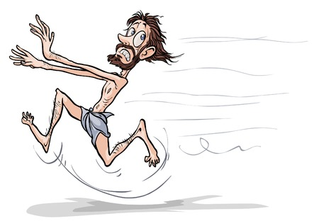 biblical: Running biblical cartoon character.