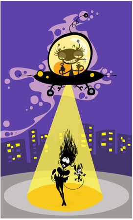 chasing: Cartoon UFO abduction of a girl and dog.