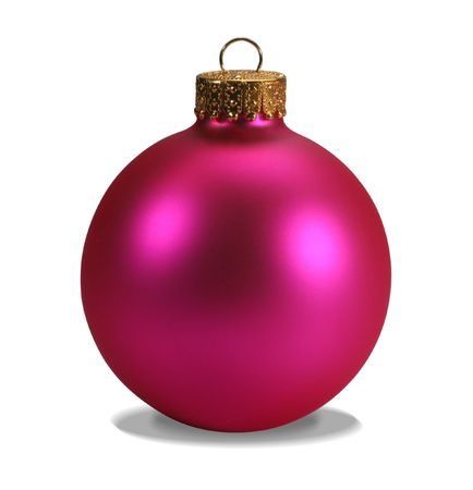Pink christmas ball isolated on white with clipping path photo