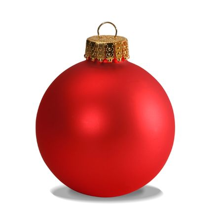 Red christmas ball isolated on white with clipping path photo