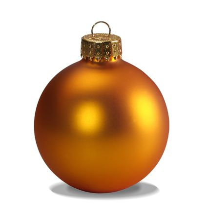 Yellow christmas ball isolated on white with clipping path photo