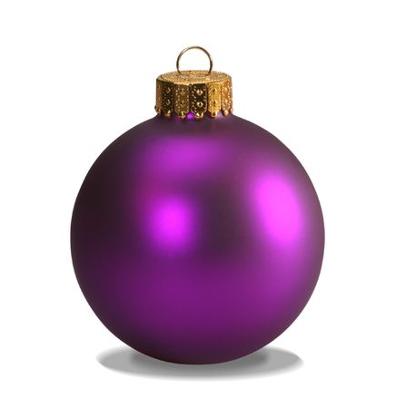 Purple christmas ball isolated on white with clipping path photo
