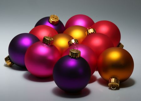Group of colorful christmas ornaments photo