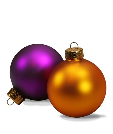 Christmas ornaments isolated on white with clipping path photo