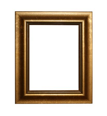 isoalated: Golden frame isoalated on white with clipping path Stock Photo