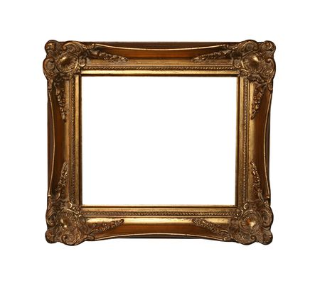 Large vintage golden frame isolated on white with clipping path for easy masking.