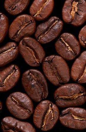 Extreme Close-up z ziaren kawy na pojedyncze czarne