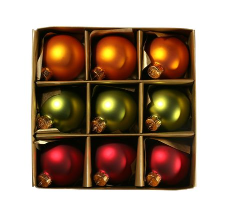 Beautiful vintage christmas ornaments in a golden box, isolated on white with clipping path photo