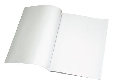 wooden insert: Blank magazine spread isoalated on white with a clipping path (Insert your own design or content). Could also be used as a test, contract and etc.