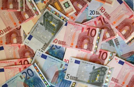 Euro currency covering the whole frame Stock Photo