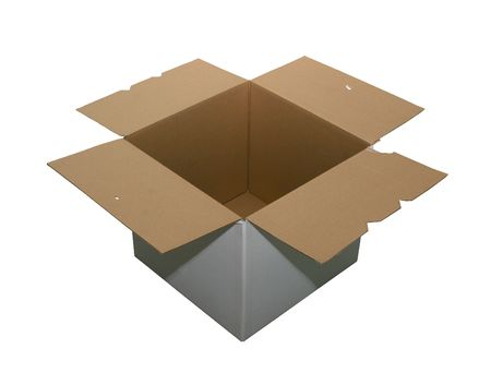 Open cardboard box isolated on white with a  Stock Photo