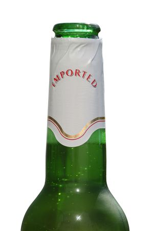 happyhour: Green beer bottle with sticker isolated against a white background. (This image contains a clipping path)