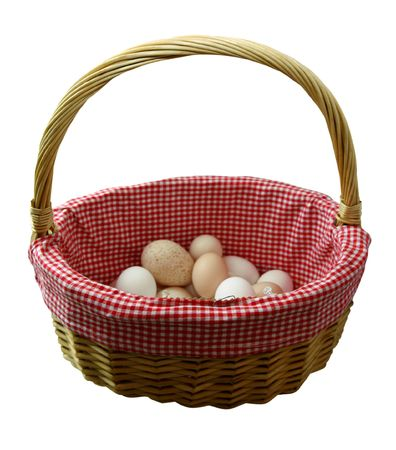 Illustrates the old saying Donandamp,laquo,t put all your eggs in one basket. This image contains a . photo