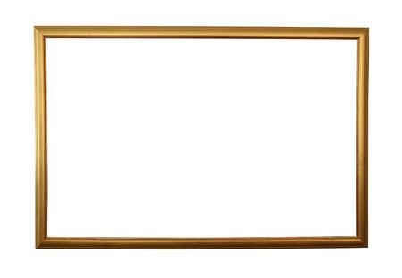 enclose: Large golden frame with clipping path - Perfect for use with any picture and any background Stock Photo