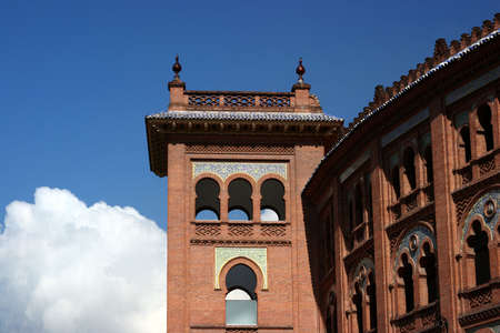 red brick repetition: Decorated building in Madrid, Spain Stock Photo