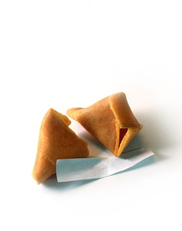 Fortune cookies with blank paper (macro). Add your own message photo