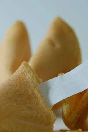 Fortune cookies with blank paper (macro) photo
