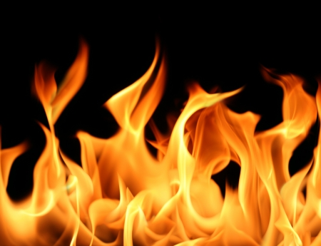 lángok: Close-up of fire and flames on a black background (Huge file)