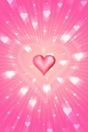 radiant love with flying hearts