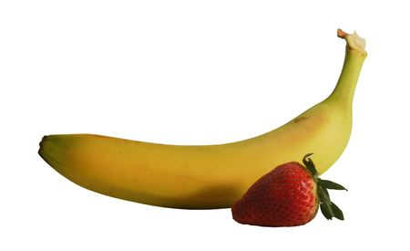 banana and strawberry isolated on white with  photo