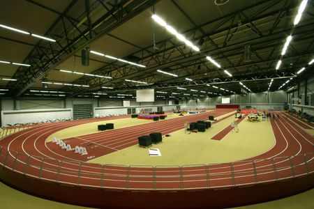 sport hall: Wide angle view of an indoors sports facility Stock Photo
