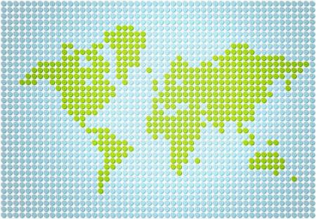 Stylish world map made out of dots photo