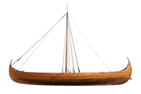 Real viking ship isolated on white Stock Photo - 342957
