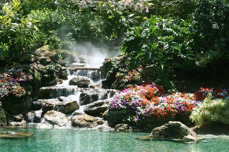 Chute d'eau dans un magnifique cadre tropical Banque d'images - 371520