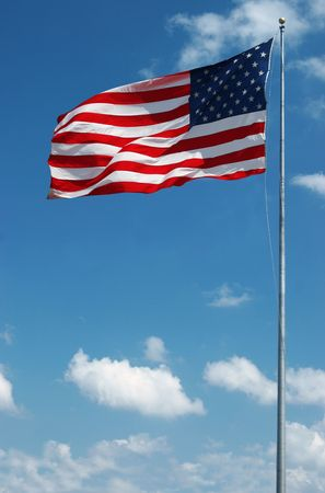 free vote: Sequence photo of stars and stripes waving in the wind on a sunny day Stock Photo