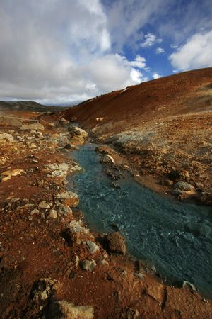 mud and snow: Out of this world landscape - this is taken in Iceland in a geothermal spot with various hotsprings and creeks