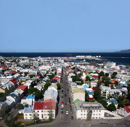 reykjavik: Foto a�rea del centro de la ciudad capital de Islandia, Reykjavik - dispar� con una lente gran angular