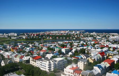 reykjavik: Vista a�rea del centro de Reykjavik mirando hacia el estanque reykavik