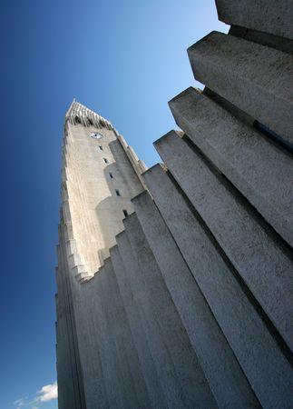 reykjavik: Hallgrimskirkja iglesia un hito en Reikiavik capital de Islandia  Foto de archivo