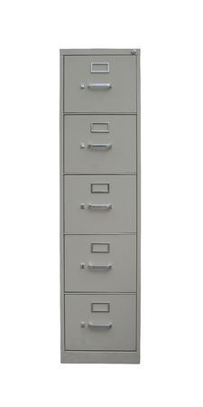 Traditional filing cabinet with clipping path isolated on white - label slots are blank  photo