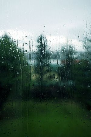 drop out: Rainy window on a melancholy day Stock Photo