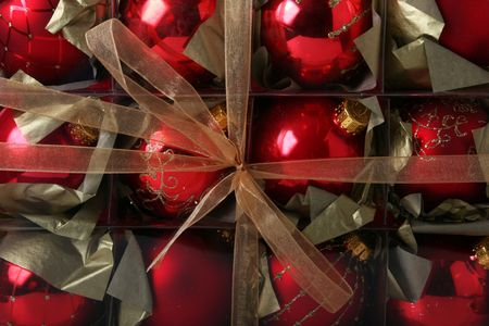old fashioned christmas: Christmas background with beautiful old fashioned christmas decorations wrapped in a box