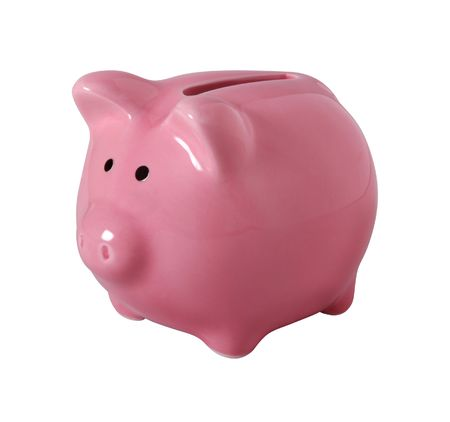piggy bank money: Pink piggybank made of ceramic isolated on white with clipping path
