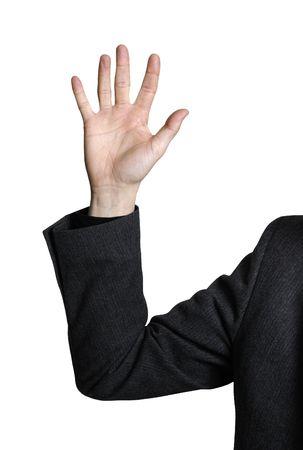 despedida: La mano de un hombre de negocios levant� en el aire - aislado en la trayectoria blanca del truncamiento