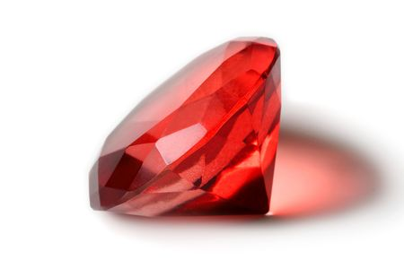 valueables: Big red diamond isolated on white