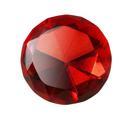 Precious red diamond isolated on white