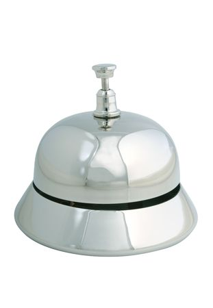 Shiny and polished service bell on a white background
